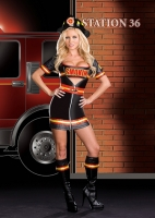 6524 Dreamgirl Costume, Smokin Hot Fire Fighter reflective tape trim