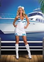 6531 Dreamgirl Costumes, Rockin the Boat, Knit halter dress with polk