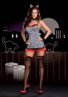 6547 Dreamgirl Costume, Sultry Stray, Stretch velvet cheetah print dr