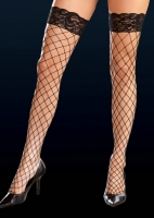7029 Dreamgirl Stockings, Fence net thigh high with lace top stocking