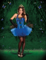 7524 Dreamgirl Costume, Royal Peacock Fully boned satin and microfibe