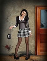 7529 Dreamgirl Costume, Gothic Schoolgirl Long sleeve gloss knit dres