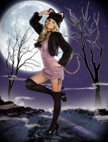 7578 Dreamgirl Costume, Purr-Fect Me Stretch knit adjustable side ani
