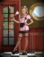 7581 Dreamgirl Costume, Housekeeping Hottie Knit button front dress w