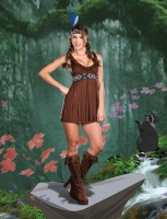 7587 Dreamgirl Costume, Tribal Trouble Stretch knit faux suede dress
