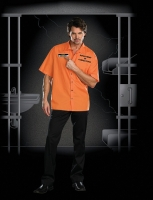 7615 Dreamgirl Costume, Inmate Ken B. Crazy Button front short sleeve