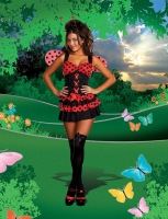 7673 Dreamgirl Costume, Lovely Ladybug Ruffle hem dress with attached