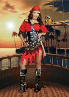 8114 Dreamgirl Costume, Rum Punch Pirate Micro suede dress with plaid