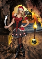 8115 Dreamgirl Costume, Pirate s Passion Stretch gloss knit dress