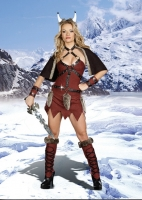 8122 Dreamgirl Costumes, Viking Warrior Faux suede tunic style dress