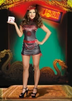 8130 Dreamgirl Costume, Pho King Hot Black glossy microfiber dress wi