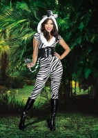 8147 Dreamgirl Costume, Zebralicious Punk inspired zip front stretch