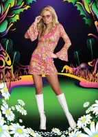 8158 Dreamgirl Costume, Go Go Gorgeous Stretch knit retro pattern A-l