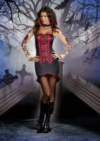 8178 Dreamgirl Costume, La Vamp Fatale Corset styled dress has a back