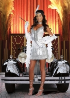8184 Dreamgirl Costume, Flap Happy Silver Satin dress with beaded 192
