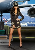 8192 Dreamgirl Costume, Mile High Pilot Long sleeved pilot's dress wi