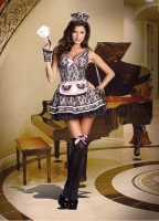 8212 Dreamgirl Costume, Pardon My French Black Parisian styled lace o
