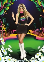 8230 Dreamgirl Costume, Peace Out Black knit dress with LED light-up