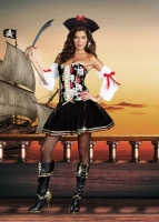 8236 Dreamgirl Costume, Naughty at Sea Skull printed corset styled dr