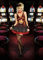 8239 Dreamgirl Costume, Lucky U Casino girl dress in stripe and solid