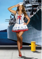 8248 Dreamgirl Costume, Anchor Management White sailor dress has fibe
