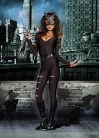 8341 Dreamgirl Costume, Night Prowler Stretch satin long sleeve zippe