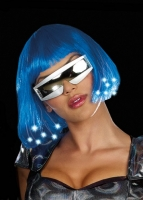 8349 Dreamgirl Wig, Light up blue wig. Batteries included