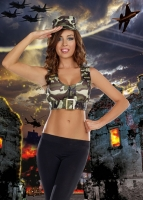 8352 Dreamgirl Kit Costume, Battalion Babe  low cut stretch knit