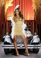 8421 Dreamgirl Costumes, Vaudeville Vixen Gold fringed dress with seq