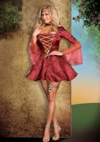 6389X Dreamgirl Costume, Juliet, Burgundy jacquard dress with gold la
