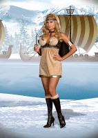 6421X Dreamgirl Costume, Viking Vixen, Micro suede dress with gold tr
