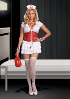 6480X Dreamgirl Costume, RN Trouble, Knit dress with layered ruffles,