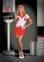 6487X Dreamgirl Costume, nurse anita shot, stretch knit snap front dr