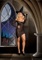 6490X Dreamgirl Costume, Witch s Web lined spider web lace knit dress
