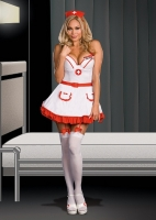 6556X Dreamgirl Costume, Nurse May I. Kissit, Stretch knit soft cup u