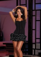 7455 Dreamgirl Clubwear, Microfiber knit corset style halter dress wi
