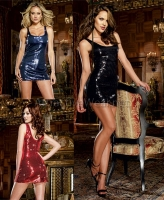 7889 Dreamgirl Clubwear, Fully lined stretch sequin tank dress with s