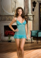 6224 Dreamgirl Lingerie, Stretch mesh babydoll with sequin embroidere