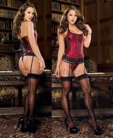7891 Dreamgirl Corsets, Fully boned jacquard corset with halter ties