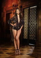 7931 Dreamgirl Lingerie, Chiffon short kimono with lace trim, sleeve