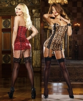 7934 Dreamgirl Lingerie, Leopard print stretch satin corset dress wit
