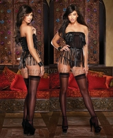 8721 Dreamgirl, Stretch mesh strapless fully boned corset with faux p