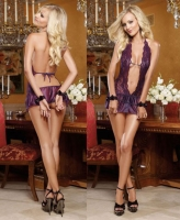 9314 Dreamgirl, Scalloped lace halter teddy with flounce mini skirt