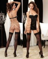 9664 Dreamgirl, Faux leather underwire halter garter slip draping