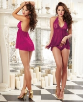 9669 Dreamgirl, Scalloped stretch lace gallon mesh halter babydoll