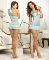 9679 Dreamgirl, Scalloped stretch lace galloon halter garter slip