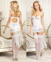 9715 Dreamgirl, Scalloped stretch lace mesh underwire garter slip