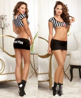 9771 Dreamgirl Referee stripe knit crop top mini skirt with Foul Play