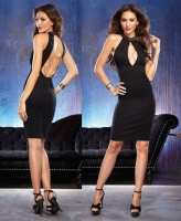 9779 Dreamgirl, Unlined Ponte knit neck fitted dress plunging front