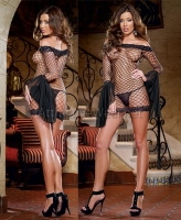 8045 Dreamgirl Clubwear, Fence net 3/4 length sleeve off the shoulder